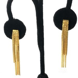 """Jewelry - Earrings double parallel chain gold tone 2"""""""